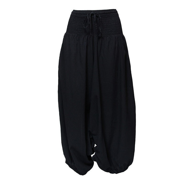 the back image of very low drop crotch baggy harem pants in black