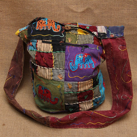 Gringo Patchwork Bag With Elephants