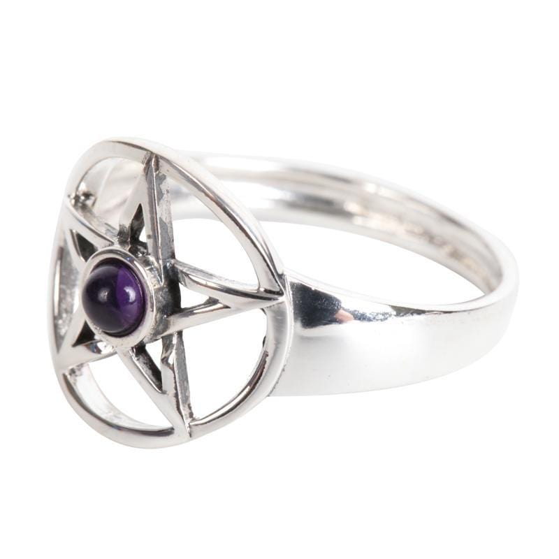 925 Pentagram With Amethyst Cabochon