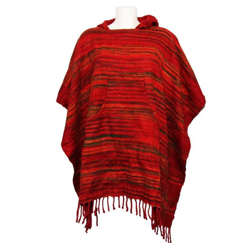 Warm Indian Hooded Poncho Red