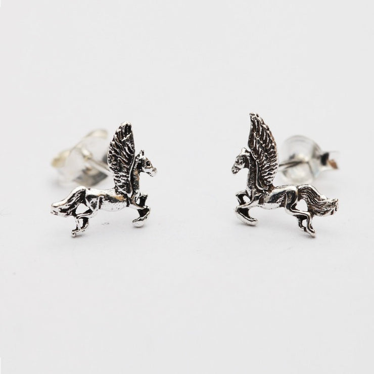 Silver Pegasus Studs Earrings