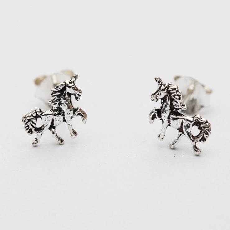 Silver Unicorn Studs Earrings