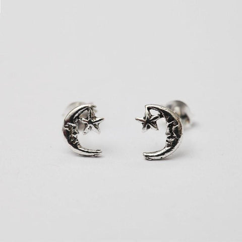Moon & Star Sterling Silver Studs