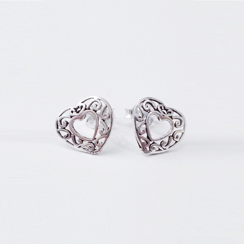 Filigree Silver Heart Studs