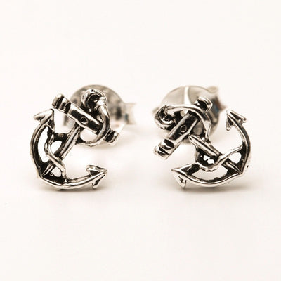 925 Sterling Silver Anchor Ear Studs