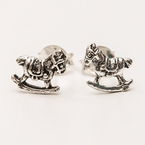 Sterling Silver Rocking Horse Ear Studs