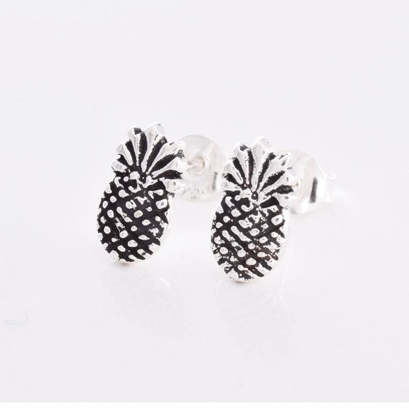 Pineapple Silver Ear Studs