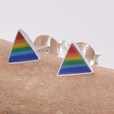 Rainbow Triangle 925 Ear Studs