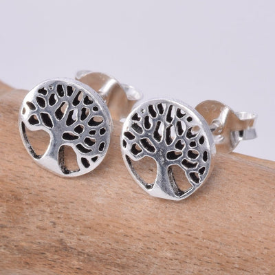 Tree of life disc stud earring