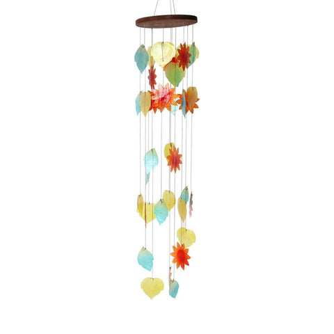Hearts & Flowers Coloured Shell Hanging Mobile