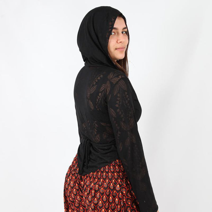 Etched Pattern Hooded Wrap Top