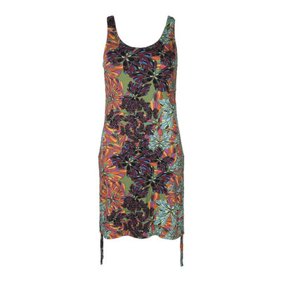 Retro Flower Print Lycra Dress