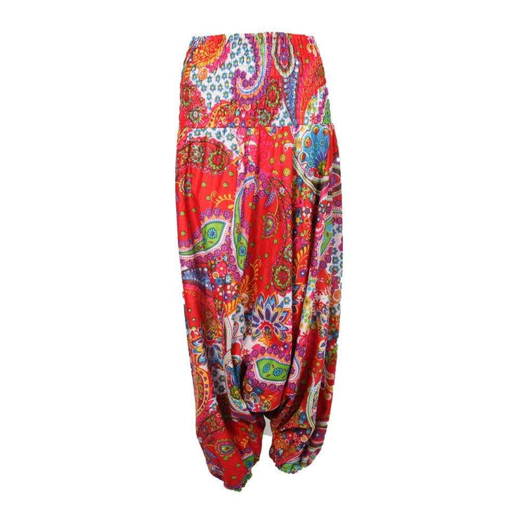 Bold Print Drop Crotch Harem Pants