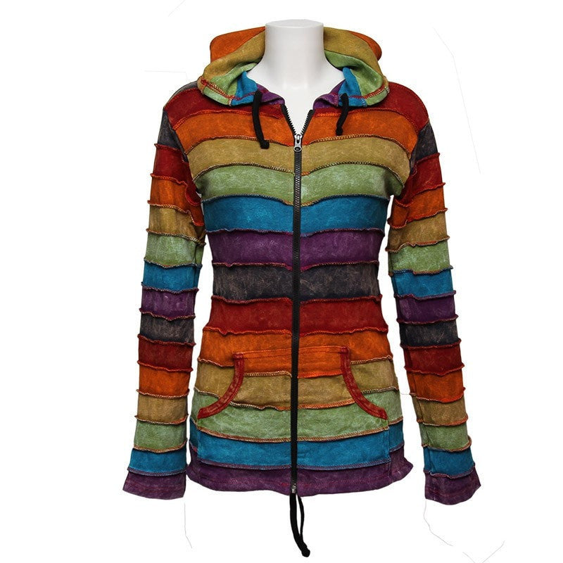 Acid Wash Rainbow Ribbed Hoodie