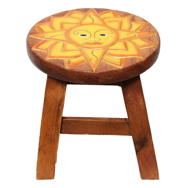 Wooden Footstool - Sun