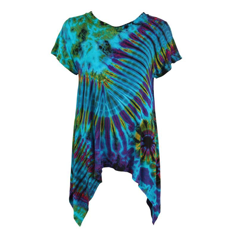 Short Sleeve Tie Dye Longline Top