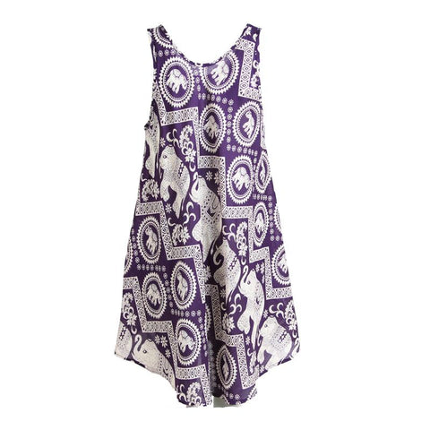 Thai Elephant Midi Swing Dress