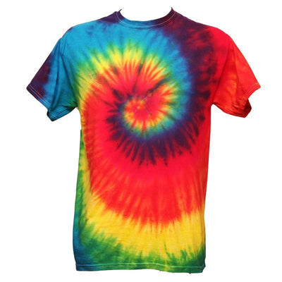 Tie dye mens fit t-shirt in a spiral design starting from the centre of the chest - Bright Rainbow