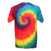 Tie dye mens fit t-shirt in a spiral design starting from the centre of the chest - Bright Rainbow, Back view