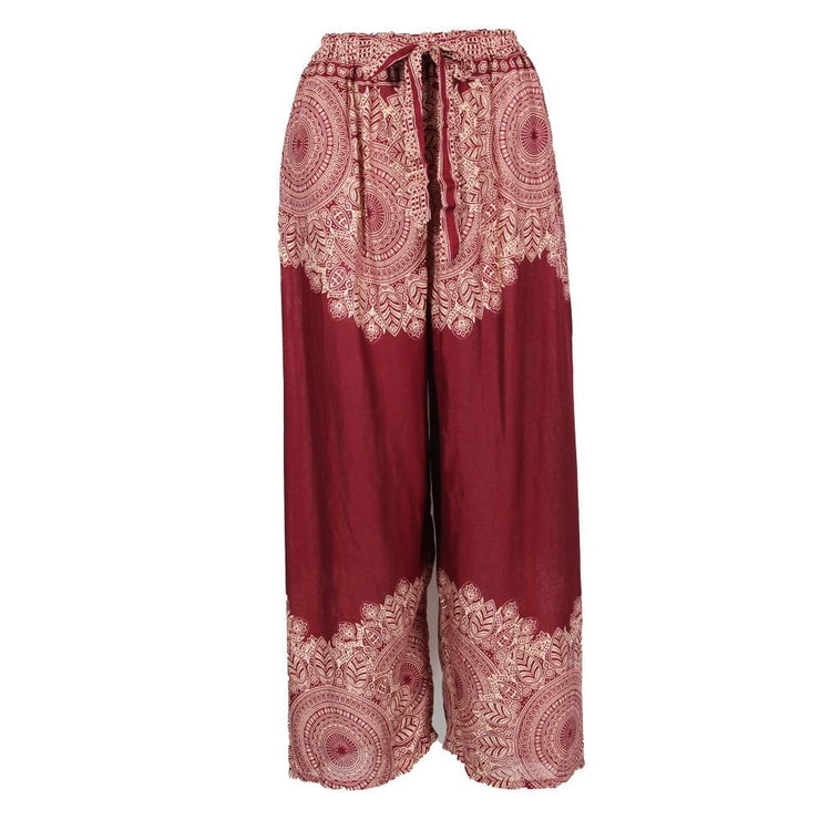 High Waisted Mandala Print Trousers