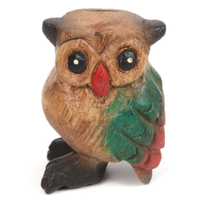 Handcarved Wooden Owl Whistle