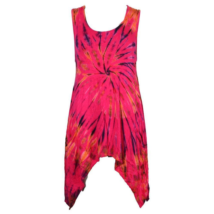 Tie Dye Sleeveless Hanky Hem Dress