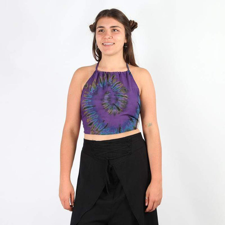 Tie Dye Halter Backless Crop Top