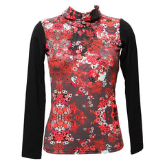 Longsleeved Floral Turtle Neck Top