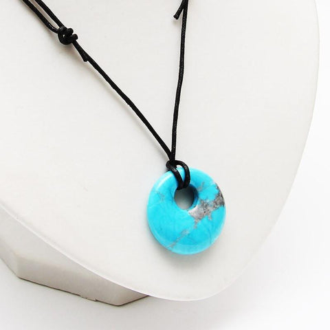 Turquoise Howlite Round Necklace - Protection