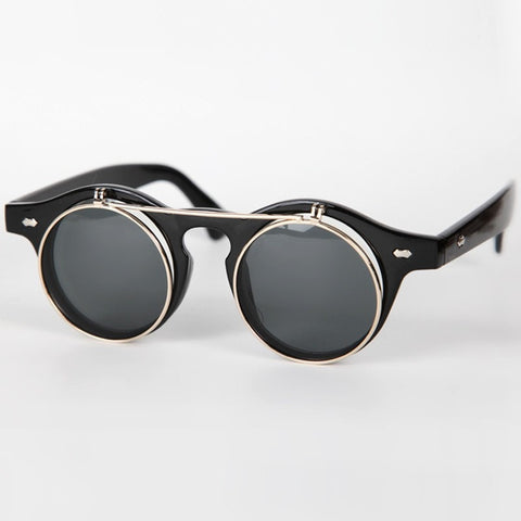 Flip-Up Small Round Sunglasses