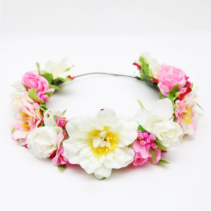 Premium Pink & White Flower Crown | The HCC | The Hippy Clothing Co.