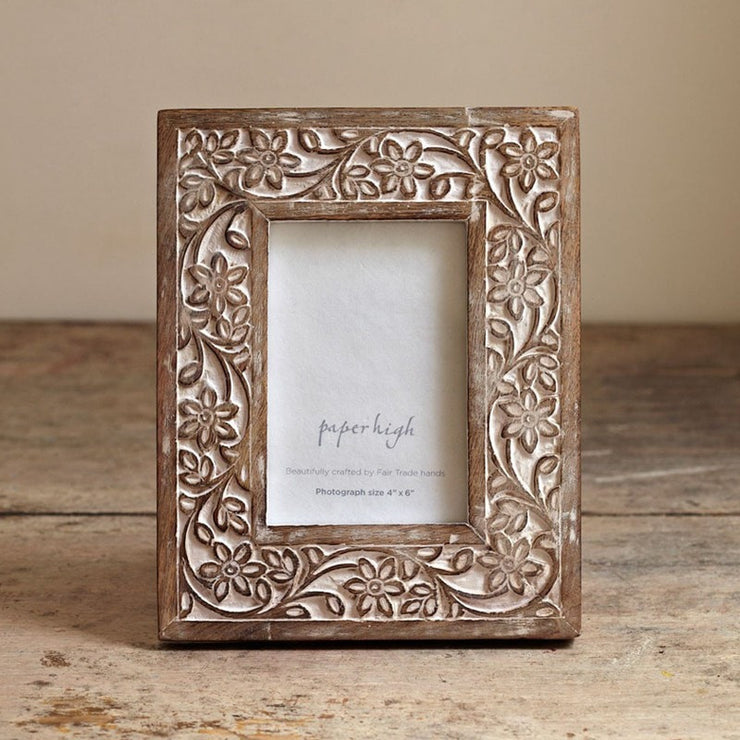 Mango Wood Flower Photo Frame