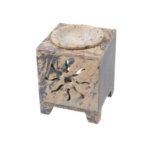 Stone Oil Burner With Sun Pattern