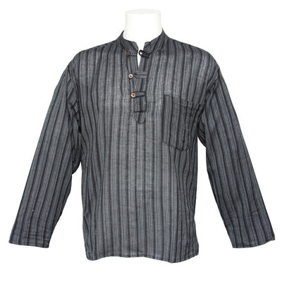 Grandad Shirt - Black Striped