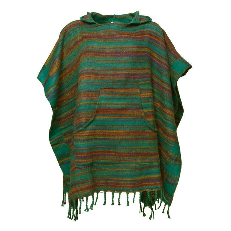 Warm Indian Hooded Poncho Green