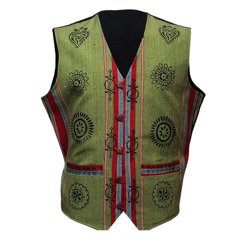 Hippy Waistcoat With Printed Pattern