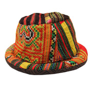 Rolled brim trilby style hat in traditional Thai Hill Tribe material, patterned and striped in different oranges, greens, yellows and browns.