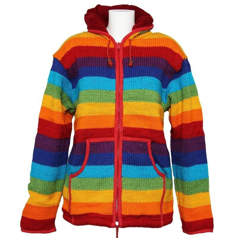 Chunky Knit Rainbow Fleece Jacket