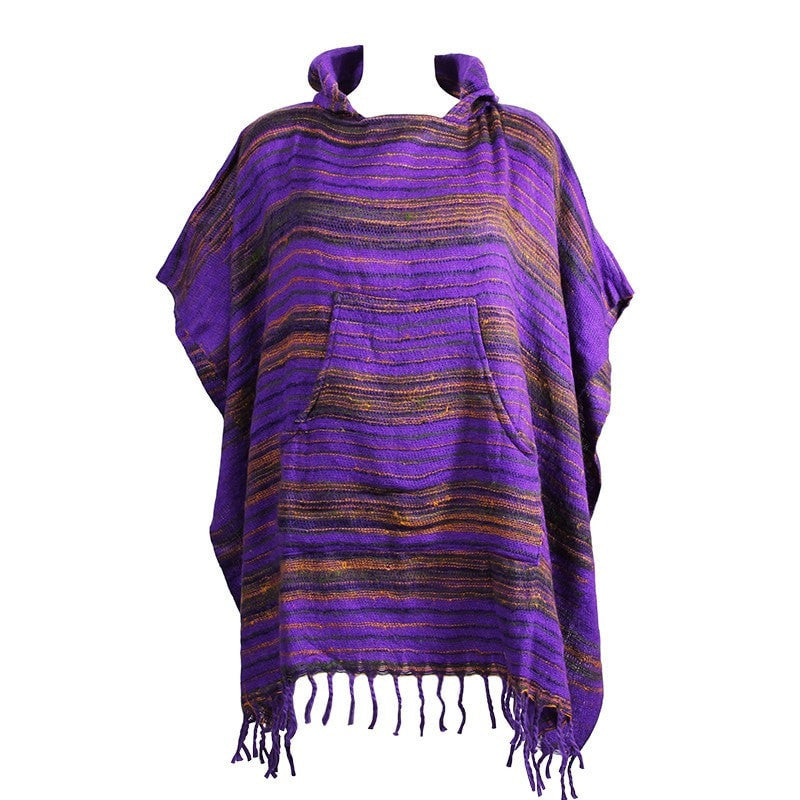 Warm Indian Hooded Poncho Purple