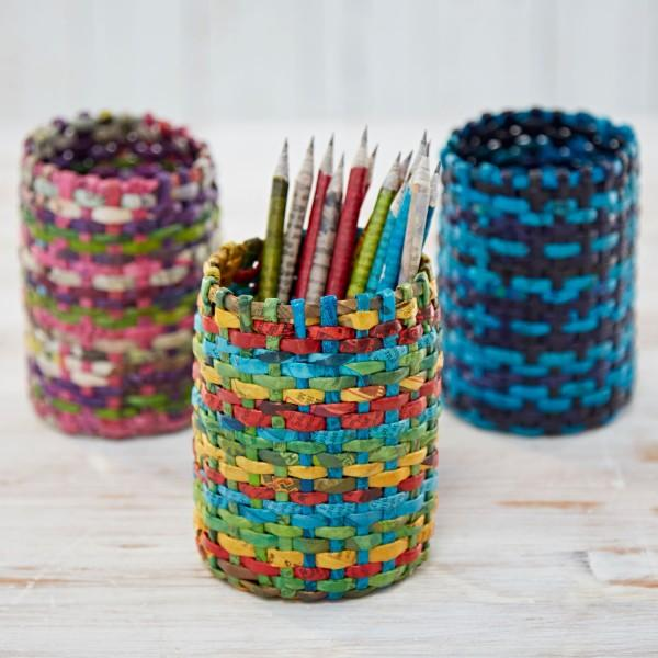 Recycled Newspaper Round Pencil Holder
