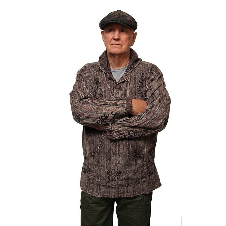 Hooded Shirt Stonewashed Block Printed, long sleeve with three buttons - Coffee, modelled