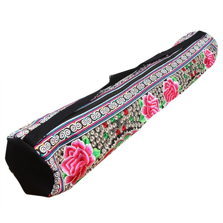 Yoga Mat Bag With Embroidered Lotus Flower