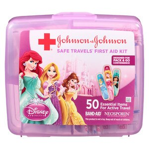 JOHNSON & JOHNSON SAFE TRAVEL FIRST AID KIT - 50 ESSENTIAL ITEMS FOR ACTIVE TRAVEL