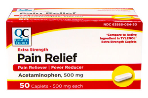 QC EXTRA STRENGTH PAIN RELIEF ACETAMINOPHEN 500 MG  - 50 TABLETS