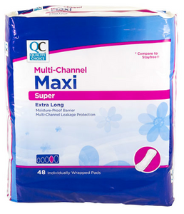 QC MULTI-CHANNEL MAXI SUPER EXTRA LONG - 48 INDIVIDUALLY WRAPPED PADS''