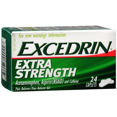 EXCEDRIN EXTRA STRENGTH PAIN RELIEVER, ACETAMINOPHEN, ASPIRIN(NSAID) & CAFFIENE - 24 CAPLETS