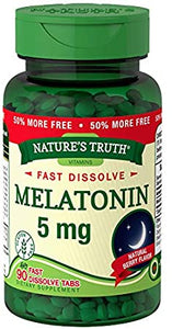 NATURES TRUTH FAST DISSOLVE MELATONIN, 5mg, NATURAL BERRY FLAVOR (90 FAST DISSOLVE TABLETS)