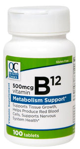 QC VITAMIN B-12  500mcg, METABOLISM SUPPORT (100 Tablets)