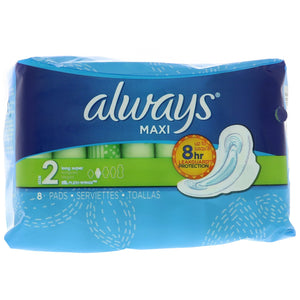 ALWAYS MAXI PADS, SIZE 2 (8 PADS)