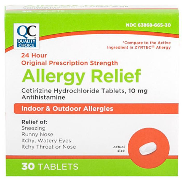 QC PRESCRIPTION STRENGTH ALLERGY RELIEF FOR INDOOR & OUTDOOR ALLERGIES, CETIRIZINE HYDROCHLORIDE TABLETS, 10mg (30 Tablets)